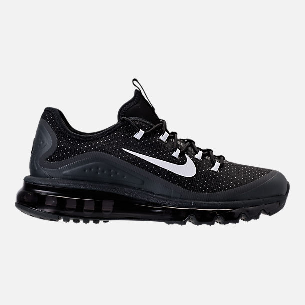 Right view of Men's Nike Air Max More Running Shoes in Black/White/Wolf Grey/Anthracite