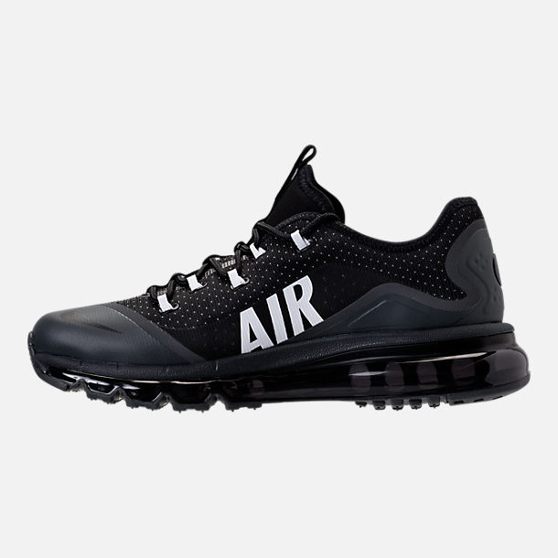 Left view of Men's Nike Air Max More Running Shoes in Black/White/Wolf Grey/Anthracite