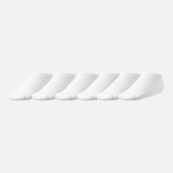 Front view of Kids' Toddler Finish Line 6-Pack Low Cut Socks in White