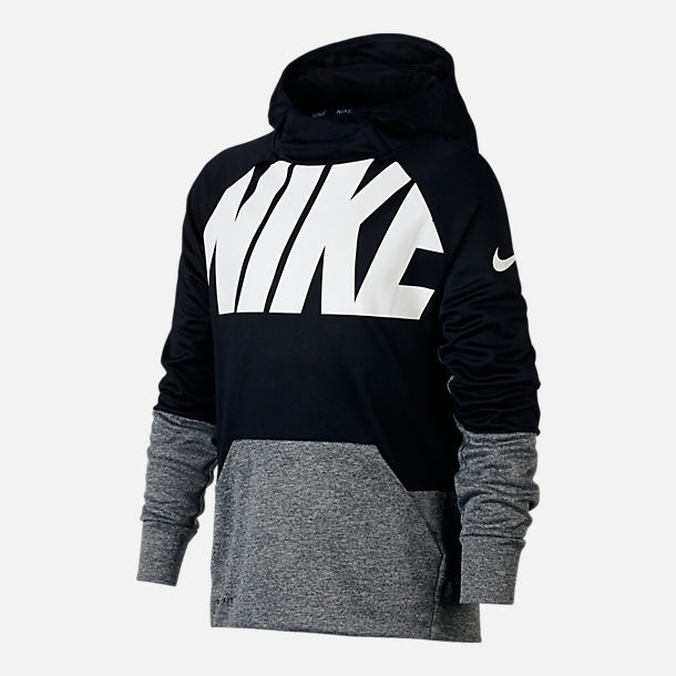 Front view of Boys' Nike Logo Therma Training Hoodie in Black/Grey
