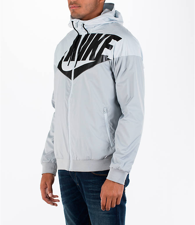 Front Three Quarter view of Men's Nike GX Windrunner Jacket in White/Black/Grey
