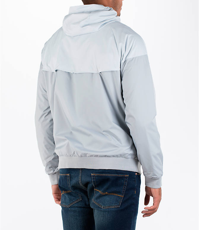 Back Right view of Men's Nike GX Windrunner Jacket in White/Black/Grey