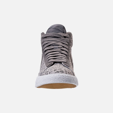 Front view of Girls' Grade School Nike Blazer Mid SE Casual Shoes in Atmosphere Grey/Gunsmoke/Gum Light