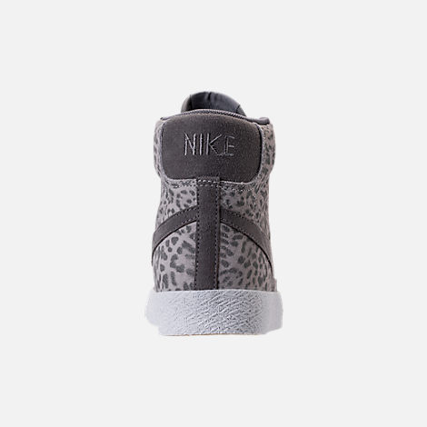 Back view of Girls' Grade School Nike Blazer Mid SE Casual Shoes in Atmosphere Grey/Gunsmoke/Gum Light