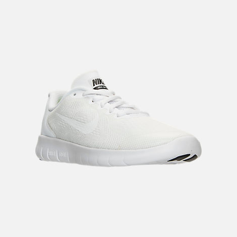 Three Quarter view of Boys' Grade School Nike Free RN 2017 Running Shoes in White/Black/Pure Platinum