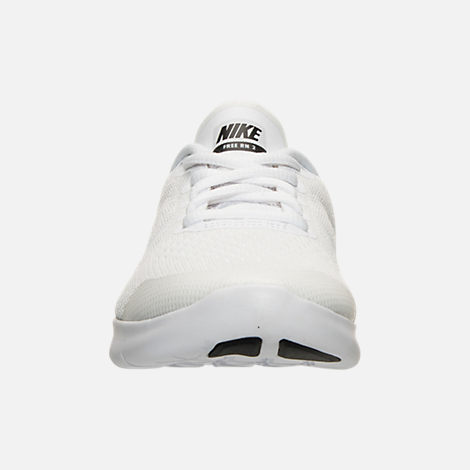 Front view of Boys' Grade School Nike Free RN 2017 Running Shoes in White/Black/Pure Platinum