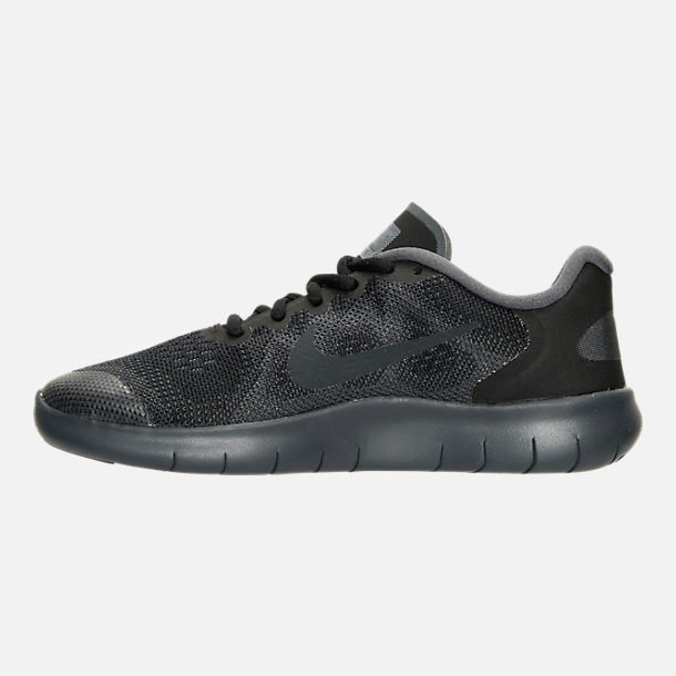 Left view of Boys' Preschool Nike Free RN 2017 Running Shoes in Black/Anthracite/Dark Grey/Cool Grey