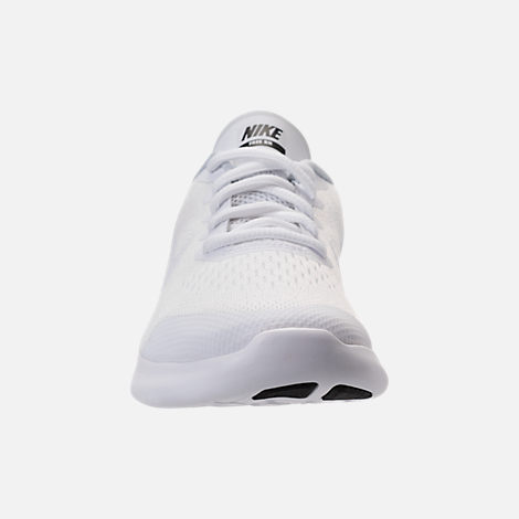 Front view of Boys' Preschool Nike Free RN 2017 Running Shoes in White/Black/Pure Platinum