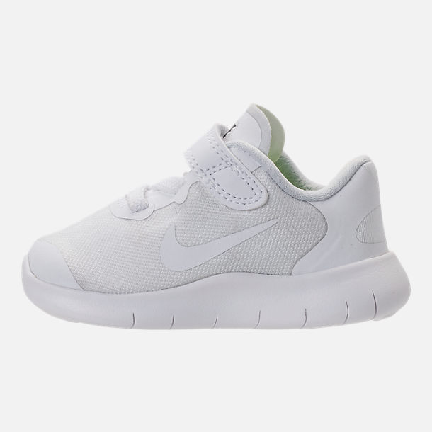 Left view of Boys' Toddler Nike Free RN 2017 Running Shoes in White/Black/Pure Platinum