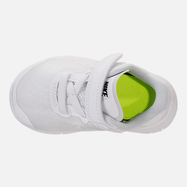 Top view of Boys' Toddler Nike Free RN 2017 Running Shoes in White/Black/Pure Platinum