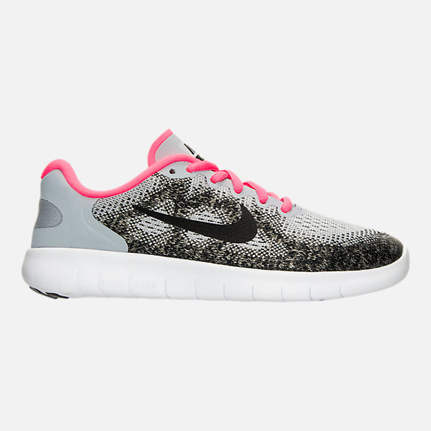 Right view of Girls' Grade School Nike Free RN 2017 Running Shoes in Wolf Grey/Black/Racer Pink