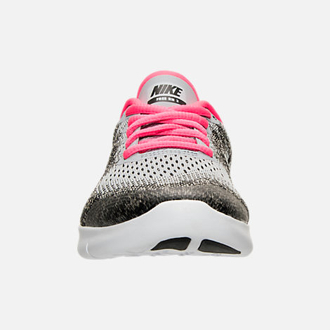 Front view of Girls' Grade School Nike Free RN 2017 Running Shoes in Wolf Grey/Black/Racer Pink
