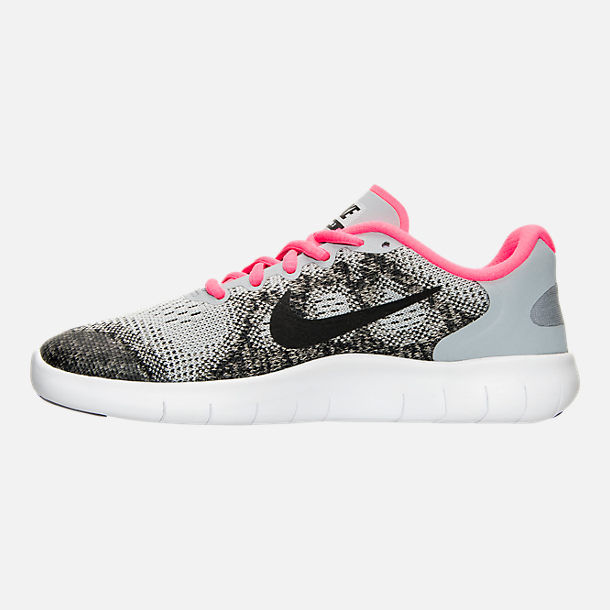 Left view of Girls' Grade School Nike Free RN 2017 Running Shoes in Wolf Grey/Black/Racer Pink
