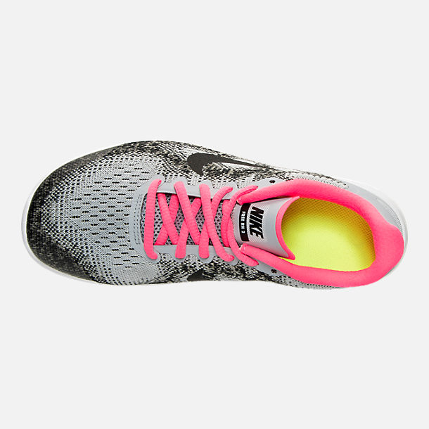 Top view of Girls' Grade School Nike Free RN 2017 Running Shoes in Wolf Grey/Black/Racer Pink