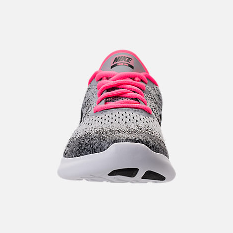 Front view of Girls' Preschool Nike Free RN 2017 Running Shoes in Wolf Grey/Black/Racer Pink