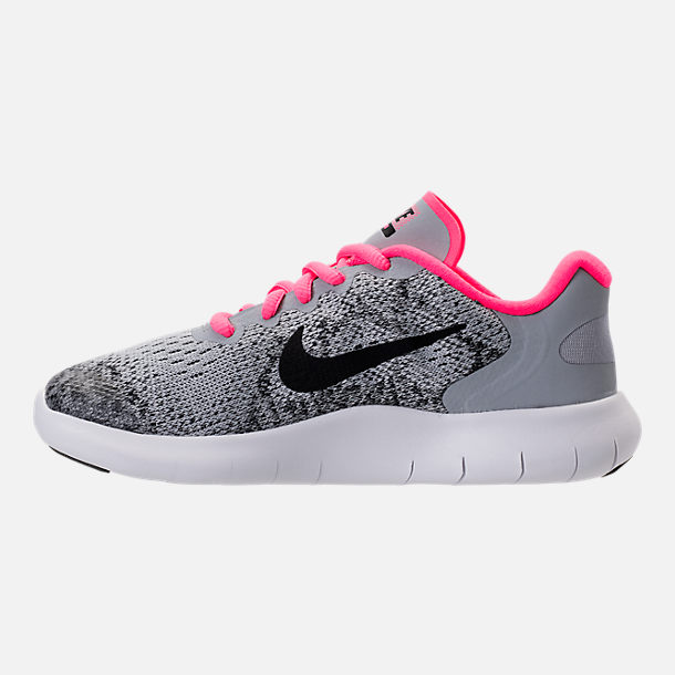 Left view of Girls' Preschool Nike Free RN 2017 Running Shoes in Wolf Grey/Black/Racer Pink