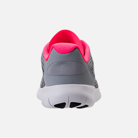 Back view of Girls' Preschool Nike Free RN 2017 Running Shoes in Wolf Grey/Black/Racer Pink