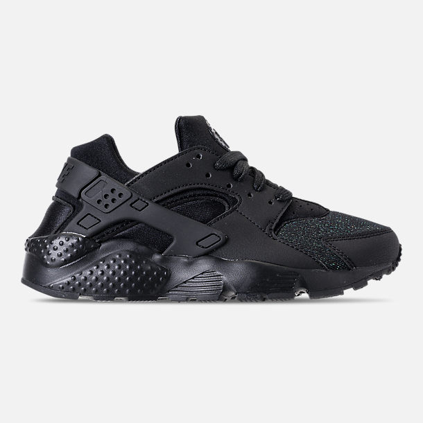 Right view of Girls' Grade School Nike Air Huarache Run SE Running Shoes in Black/Black