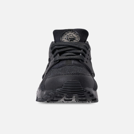 Front view of Girls' Grade School Nike Air Huarache Run SE Running Shoes in Black/Black