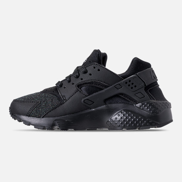 Left view of Girls' Grade School Nike Air Huarache Run SE Running Shoes in Black/Black