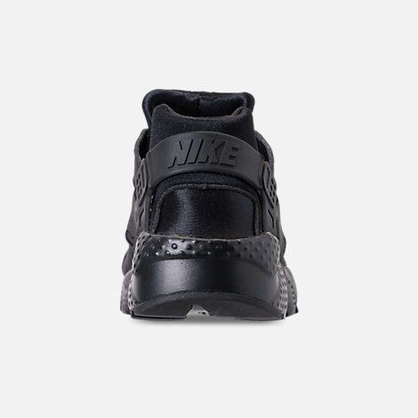 Back view of Girls' Grade School Nike Air Huarache Run SE Running Shoes in Black/Black