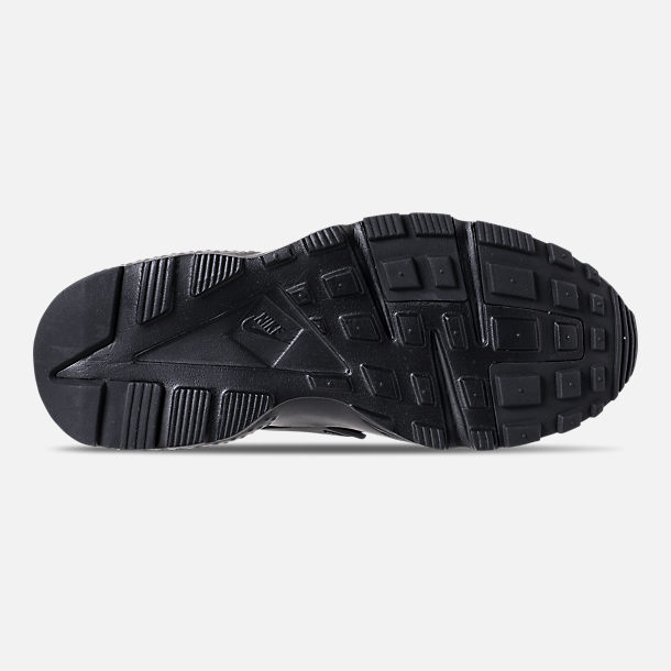 Bottom view of Girls' Grade School Nike Air Huarache Run SE Running Shoes in Black/Black