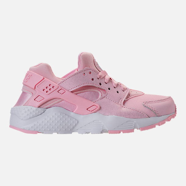 Right view of Girls' Grade School Nike Air Huarache Run SE Running Shoes in Prism Pink/White