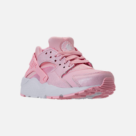 Three Quarter view of Girls' Grade School Nike Air Huarache Run SE Running Shoes in Prism Pink/White