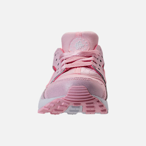 Front view of Girls' Grade School Nike Air Huarache Run SE Running Shoes in Prism Pink/White