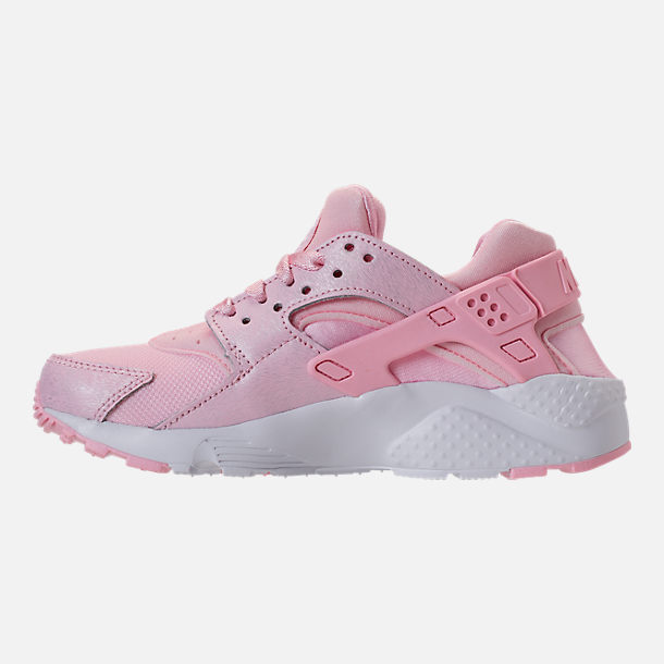 Left view of Girls' Grade School Nike Air Huarache Run SE Running Shoes in Prism Pink/White