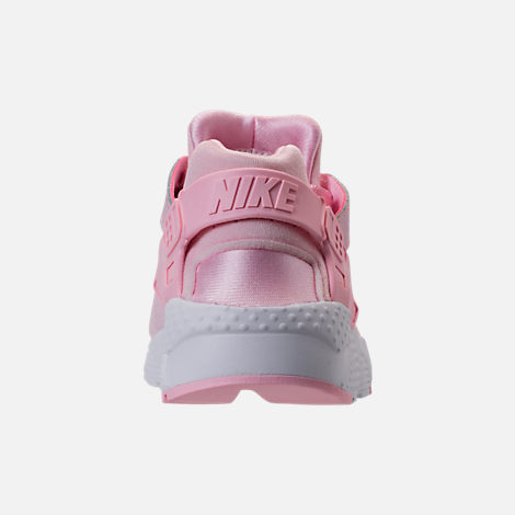Back view of Girls' Grade School Nike Air Huarache Run SE Running Shoes in Prism Pink/White
