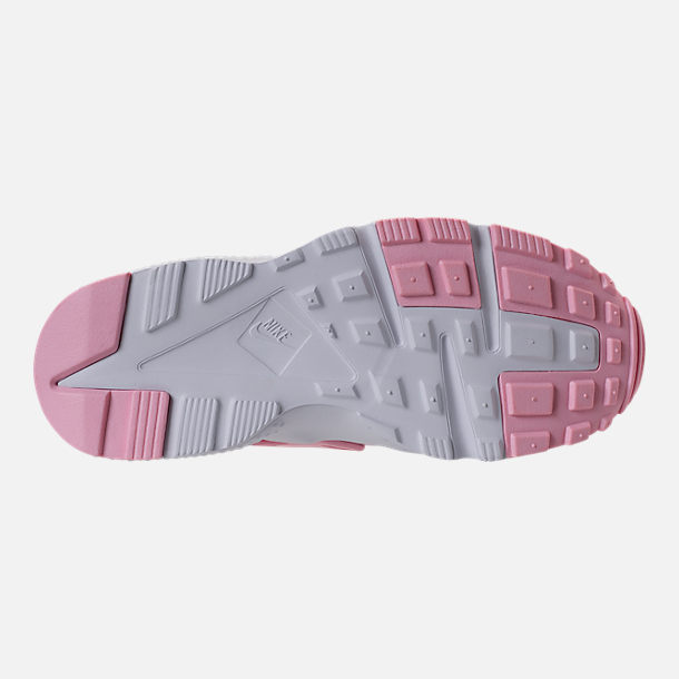 Bottom view of Girls' Grade School Nike Air Huarache Run SE Running Shoes in Prism Pink/White