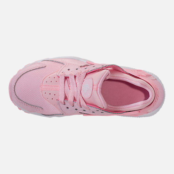 Top view of Girls' Grade School Nike Air Huarache Run SE Running Shoes in Prism Pink/White