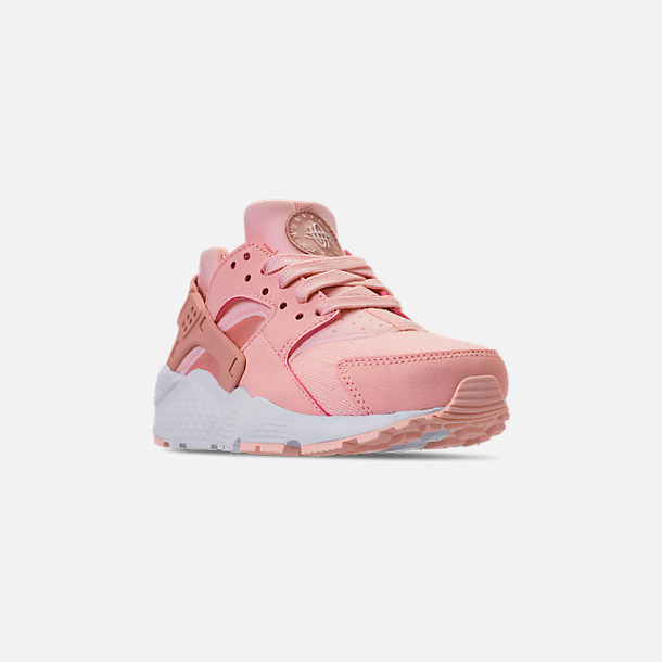 Three Quarter view of Girls' Big Kids' Nike Air Huarache Run SE Casual Shoes in Storm Pink/Rust Pink/White