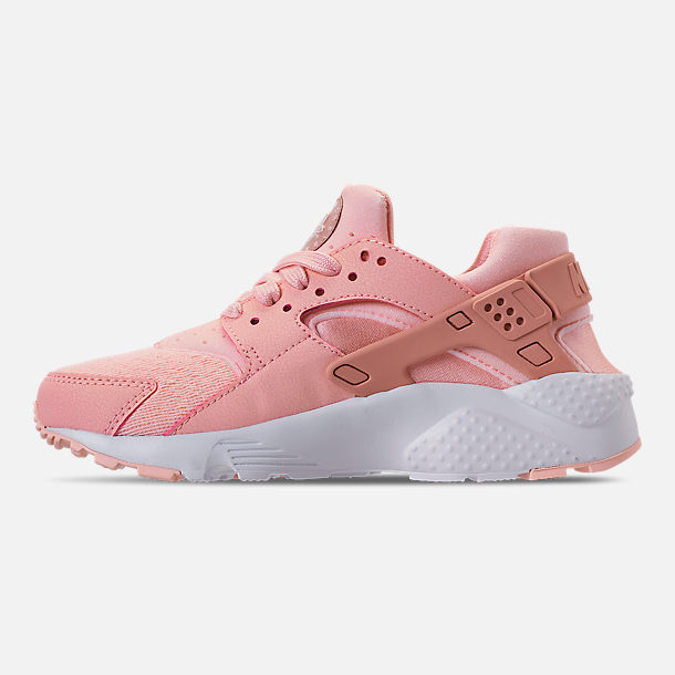 Left view of Girls' Big Kids' Nike Air Huarache Run SE Casual Shoes in Storm Pink/Rust Pink/White