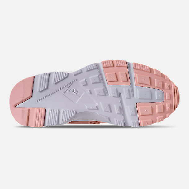 Bottom view of Girls' Big Kids' Nike Air Huarache Run SE Casual Shoes in Storm Pink/Rust Pink/White