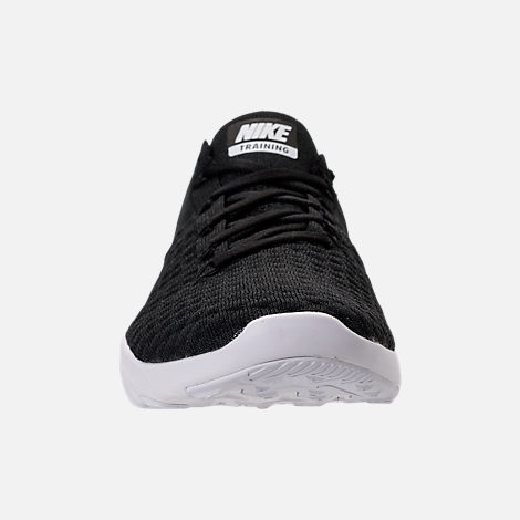 Front view of Women's Nike Free TR Flyknit 2 Training Shoes in Black/Black/White