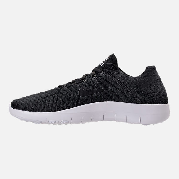 Left view of Women's Nike Free TR Flyknit 2 Training Shoes in Black/Black/White