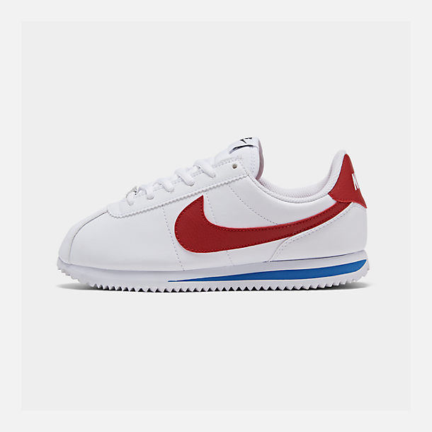 Right view of Boys' Big Kids' Nike Cortez Basic SL Casual Shoes in White/Varsity Red/Varsity Royal