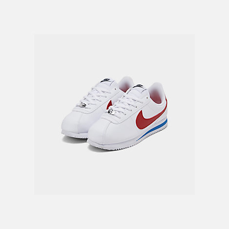 Three Quarter view of Boys' Big Kids' Nike Cortez Basic SL Casual Shoes in White/Varsity Red/Varsity Royal