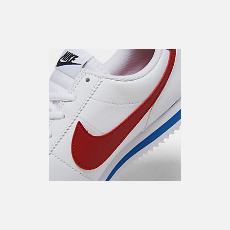 Front view of Boys' Big Kids' Nike Cortez Basic SL Casual Shoes in White/Varsity Red/Varsity Royal