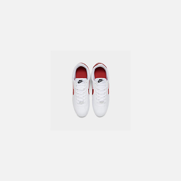 Back view of Boys' Big Kids' Nike Cortez Basic SL Casual Shoes in White/Varsity Red/Varsity Royal