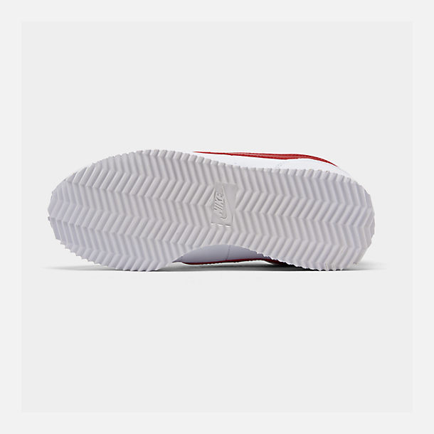 Bottom view of Boys' Big Kids' Nike Cortez Basic SL Casual Shoes in White/Varsity Red/Varsity Royal