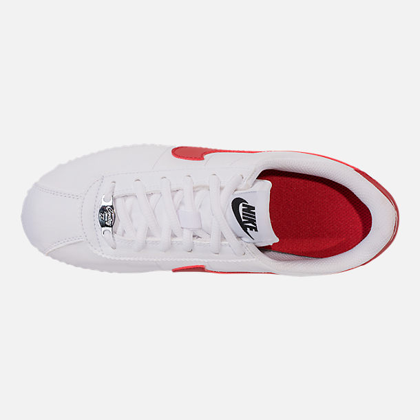 Top view of Boys' Big Kids' Nike Cortez Basic SL Casual Shoes in White/Varsity Red/Varsity Royal