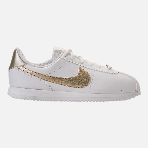 Right view of Boys' Grade School Nike Cortez Basic SL Casual Shoes in Summit White/Metallic Gold Star
