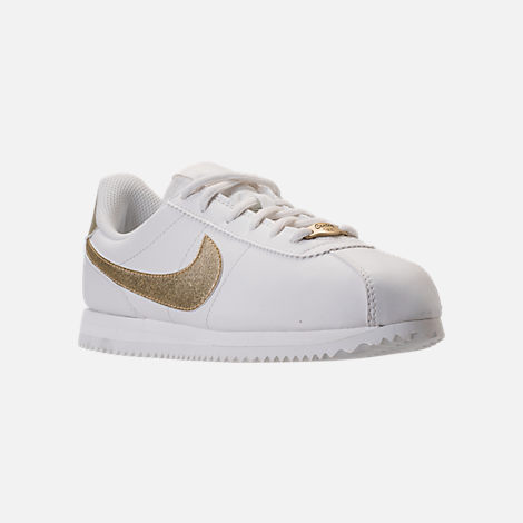 Three Quarter view of Boys' Grade School Nike Cortez Basic SL Casual Shoes in Summit White/Metallic Gold Star