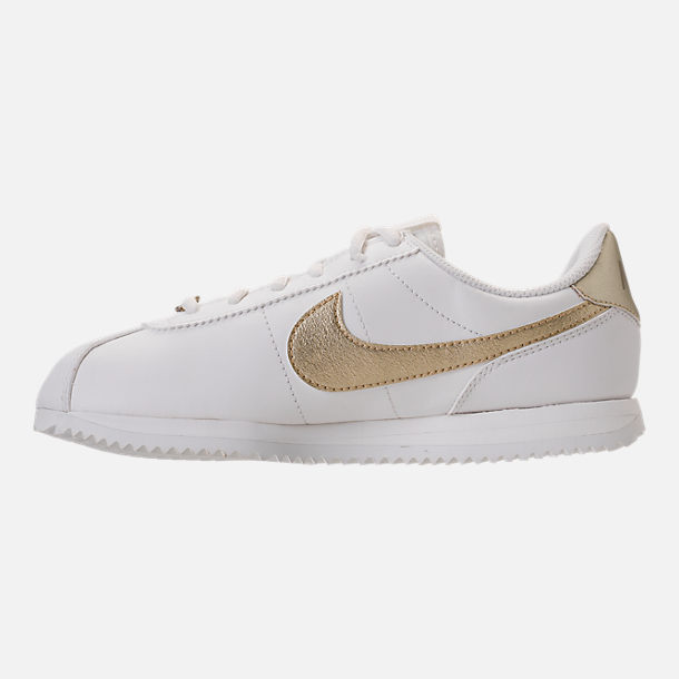 Left view of Boys' Grade School Nike Cortez Basic SL Casual Shoes in Summit White/Metallic Gold Star
