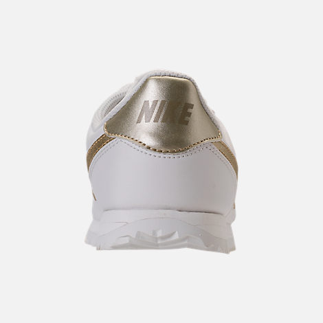 Back view of Boys' Grade School Nike Cortez Basic SL Casual Shoes in Summit White/Metallic Gold Star