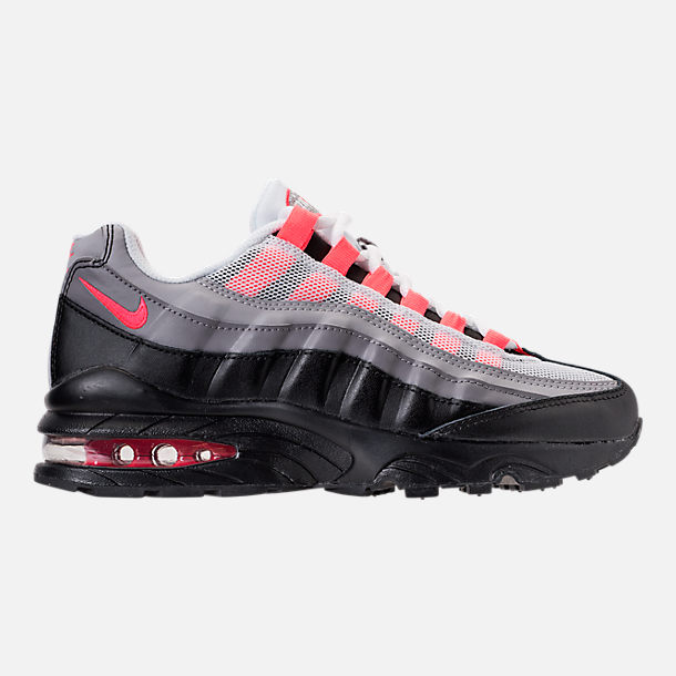 Right view of Girls' Grade School Nike Air Max 95 Casual Shoes in Black/Solar Red/Gunsmoke