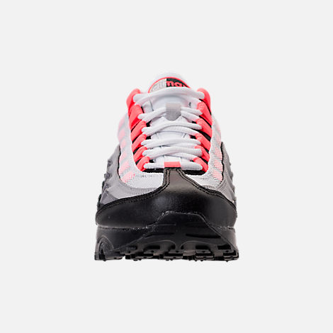 Front view of Girls' Grade School Nike Air Max 95 Casual Shoes in Black/Solar Red/Gunsmoke